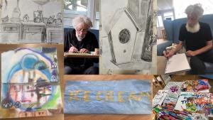 Roy Collins & his artwork.